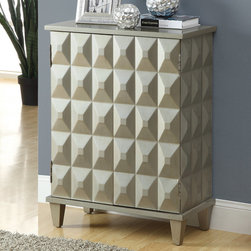 """Monarch - Brushed Silver Contemporary Bombay Chest - Sophistication meets style with this fabulous brushed silver contemporary Bombay chest featuring 2 shelves and an ample amount of storage behind the doors. This fashionable bombay chest can be used as a nightstand, hallway display, bathroom chest and more.; Material: MDF, Birch; Dimensions: 24""""L x 12""""W x 32""""H"""