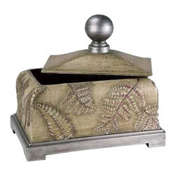 Ore International - Ore International Fern Decorative Leaf Box - 11H in. Multicolor - K-4224JX1 - Shop for Decorative Boxes from Hayneedle.com! Whether it s a gift for a friend or a gift for yourself the Ore International Fern Decorative Leaf Box - 11H in. brings a fresh look to any home. It s crafted of durable polyresin and finished in a light brown that highlights the eye-catching fern accents. Up top the lid features a pretty ball finial and the base is finished in a coordinating ivory tone. About Ore International Inc.:Ore International Inc. creates beautiful accent furniture lighting and gifts for the home. Their goal is to be the leading provider of innovative superior home products worldwide. Ore International is based in Santa Fe Springs California and has a Customer First attitude. Their products are designed to match modern and classic tastes and fit today's homes. From room dividers to lamps end tables to entertainment centers you'll discover quality craftsmanship at a fair price in all Ore International products.