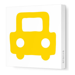 "Avalisa - Things That Go - Auto Stretched Wall Art, 28"" x 28"", Yellow Hue -"
