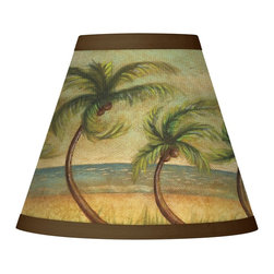 "Giclee Glow - Coastal Dancing Palms Giclee Set of Four Shades 3x6x5 (Clip-On) - These eye-catching clip-on shades are made using the giclee print process. The specially chosen pattern is printed on high quality matte canvas. The giclee printing process allows for the precise reproduction of rich color. Polished brass finish clip-on fitting. Recommended for use with 25 watt candelabra bulbs. Price is for 4 shades. Set of four. Clip-on style shades. Custom giclee print on canvas. Fabric trim. Fitter in polished brass finish. Price is for 4 shades. 3"" across the top. 6"" across the bottom. 5"" high. U.S. Patent # 7347593.  Set of four.  Clip-on style shades.  Custom giclee printed pattern.  Fitter in polished brass finish.  Price is for 4 shades.  Recommended for use with 25 watt candelabra bulbs.  3"" across the top.   6"" across the bottom.   5"" high."
