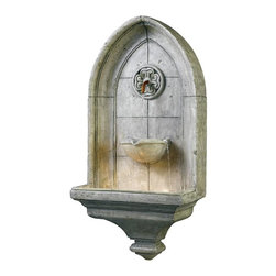 Home Decorators Collection - Canterbury Indoor/Outdoor Wall Fountain - Our Gothic-styled Canterbury Indoor/Outdoor Wall Fountain, featuring an arched silhouette and tapered base, is modeled after the famous cathedral in Kent. Water first flows from a copper spigot at the center of a sculpted medallion; it then pools into a bowl, where it splits into three streams that finally trickle to the wide basin below. This sophisticated fountain will add classic appeal to any indoor or outdoor space. Illuminated. Gothic details add old English character. Can be used indoors or out.