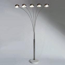 Modern ARCO 5 lights Floor Lamp in Chrome Finish -