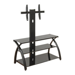 Studio Designs - Futura TV Stand with Tower in Black - Tempered Safety Glass Top & Shelves. Can accommodate Flat Screen TVs up to 70 lbs. Rear Cut Outs for Easy Cord Accessibility. Heavy Gage Steel Construction for Durability. Six Floor Levelers for Stability. TV Shelf: 42 in. W x 12.75 in. D. Mid Shelf: 37.25 in. W x 12.75 in. D. Bottom Shelf: 37.25 in. W x 17 in. D. Overall Dimensions: 42 in. W x 26.75 in. D x 52.5 in. H (56 lbs)Streamline your entertainment center with the Futura TV Stand with Tower by Studio Designs. The Futura TV Stand is designed to accommodate your electronics with style and ease. Mount your flat screen TV on our secure tower (up to 70 lbs.) Three rear cut outs allow for easy chord access. Store DVDs, games, books and more on three spacious tempered safety glass shelves. Made of heavy gage steel for durability. Six Floor levelers ensure stability.