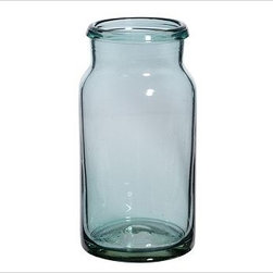 """Recycled Glass Jar, Blue, Medium - Created by hand blowing recycled glass from Mexico, these artisanal jars are reminiscent of rough-hewn sea glass. Small: 4.75"""" diameter, 9"""" high Large: 7"""" diameter, 13.75"""" high Made of handblown recycled glass from Mexico."""