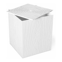 Gus Modern - Gus Modern | Stump Storage Box - Design by Gus* Modern. The Stump Storage Box provides a convenient and stylish place to stash blankets, clothes, or clutter. It features a faux woodgrain pattern grooved into the sides and top, juxtaposing organic lines with modern materials. It sits on smooth-rolling casters which allow it to be easily moved around your space.