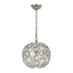 Crystorama Lighting Group - Crystorama Lighting Group 527-SA Palla 1 Light Mini Chandelier with Natural Whit - The Palla Collection showcases Dorian's whimsical designs and attention to color detail. Fixtures in this collection are available in Antique Silver, or Antique Gold Leaf finishes, hand painted onto Wrought Iron. This collection is perfect for today's contemporary spaces or yesterday's retro glamour.Features: