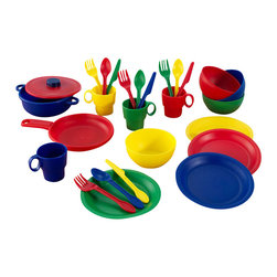 Kidkraft - KidKraft 27 Piece Kitchen Dish Play set in Primary - Kidkraft - Kitchen Play Sets - 63127 - Your little chef can now prepare and serve delicious imaginary culinary delights with KidKraft's 27 Piece Kitchen Play Set. Molded in durable plastic and set in primary colors of red yellow blue and green this extensive kitchen set includes: