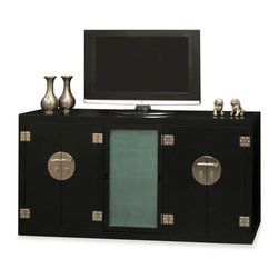 """China Furniture and Arts - Elmwood Modern Ming Media Cabinet - Distinct in its simple clean lines, our Elmwood sideboard exemplifies the Ming aesthetic that simplicity is beauty. A center compartment with a frosted glass door houses multiple removable glass shelves for display and storage purposes. Two flanking double door compartments each measuring 23.25""""W x 16""""D x 30""""H provide additional storage space and contain removable shelves as well. Multi-layer lacquer finish is meticulously hand-applied to create a rich matte black appearance that is consistent throughout the piece. The polished cast-brass pull and decorative hinges are symmetrically fitted reflecting the Chinese ideal of unity. Cable outlets can be made upon request. Fully assembled. Display accessories not included."""