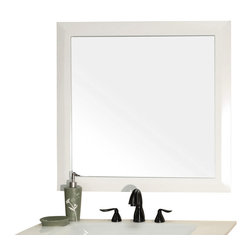 Bellaterra Home - Solid wood frame mirror-white - Solid wood frame and  mirror in sleek white finish.