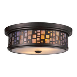 Elk Lighting - Elk Lighting Tiffany Traditional Flush Mount Ceiling Light X-2-72007 - The variations in color in the tea stained glass diffuser help to add visual interest to this Landmark Lighting flush mount ceiling light while also highlighting the finer details of the secondary geometric-patterned exterior shade. This frame of this brown ceiling light has been finished in a classic Oiled Bronze that is ideal for a variety of decors.