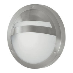 Eglo - Sevilla Outdoor Wall Sconce by Eglo - The Eglo Sevilla Outdoor Wall Sconce features a White Frosted glass shade within a stainless steel frame, designed with a hood to keep useful light shining downward. The frame's natural Stainless Steel finish is sleek and silvery, making the Sevilla a versatile complement to a wide variety of modern exteriors. The start of its success was in 1969, when Ludwig Obwieser created Eglo Leuchten. Development of new markets opened the opportunity to establish more than 70 business premises all over the world. Today, Eglo is globally classed as one of the most successful suppliers of decorative home lighting.