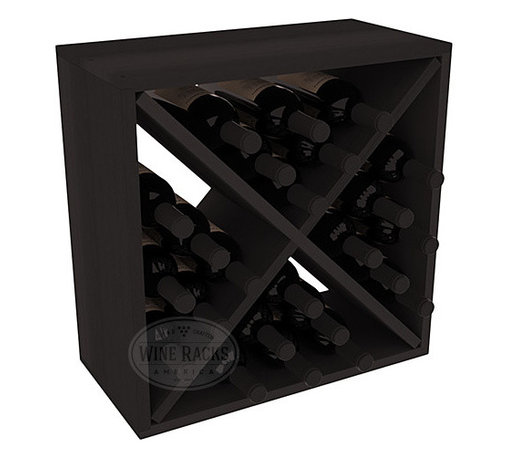 """Wine Racks America - 24 Bottle Wine Storage Cube in Premium Redwood, Black Stain - A wine rack focused on flexibility; buy 1 or buy 100. Perfect for stacking, filling small spaces, and converting that """"underneath"""" space into wine storage. Mix and match finishes to illustrate your true wine-lover's spirit or contrast colors for a modern wine rack twist."""