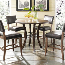 Hillsdale - 5-Piece Counter Height Round Wood Dining Set - Includes Table and 4 Stools. Brown vinyl faux leather seat. Wood has a Chestnut Brown finish. Dark gray metal finish. 42 in. Diameter