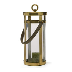 Go Home - Brushed Finish Wellington Lantern - Wellington Lantern will sure to be noticed by your guests as you welcome them to your home.It has  handle that allows ease in holding.It will sure to give amazing look to your home.It is crafted with glass, brass with leather handle and have brushed finish.