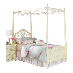 Lea - Lea Jessica Mcclintock Romance Metal and Wood Canopy Bed in Antique White - Lea - Beds - 2039X599XMTYPE - This Jessica McClintock Romance Metal and Wood Canopy Bed features extensive carvings with delicate silver accents over a soft antique white finish. A regal addition to any girl's room.