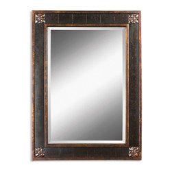 Uttermost - Uttermost 14156 B Bergamo Distressed Chestnut Brown Vanity Mirror - Distressed Chestnut Brown Finish