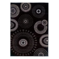 """LR Resources - Indoor Area Rug: Contemporary Charcoal Rectangle 7' 9"""" x 9' 9"""" Plush - Shop for Flooring at The Home Depot. Colorful Kaleidoscopic Motifs Floating on a Solid Background. This area rug provides style and the durability to stand-up to your busiest homes. Order this beautiful area rug today."""