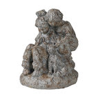 Ren-Wil - Ren-Wil STA232 Family Pet Statue in Natural stone finish by Kelly Stevenson - This beautiful hand molded statue depicts a brother and sister lovingly playing with their pet dog. This statue is finished in a natural stone finish with heavy textures
