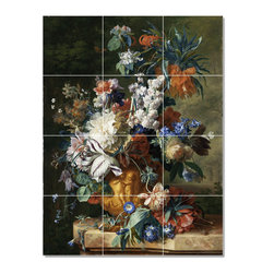 Picture-Tiles, LLC - Van Bouquet Of Flowers In An Urn Tile Mural By Jan Huysum - * MURAL SIZE: 48x36 inch tile mural using (12) 12x12 ceramic tiles-satin finish.