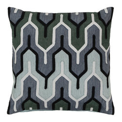Surya Rugs - Slate Blue Laurel Green Twilight Mauve and Midnight Green Polyester Filled 22 x - - Add style and sophistication to any room with this modern pillow. This pillow has a polyester fill and zipper closure with accents of slate blue laurel green twilight mauve and midnight green. Made in India with one hundred percent cotton this pillow is durable and priced right  - Cleaning/Care: Blot. Dry Clean  - Filled Material: Polyester Filler Surya Rugs - AR112-2222P