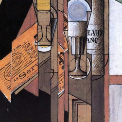 """Juan Gris Glasses, Newspaper and Bottle of Wine - 16"""" x 24"""" Print - 16"""" x 24"""" Juan Gris Glasses, Newspaper and Bottle of Wine premium archival print reproduced to meet museum quality standards. Our museum quality archival prints are produced using high-precision print technology for a more accurate reproduction printed on high quality, heavyweight matte presentation paper with fade-resistant, archival inks. Our progressive business model allows us to offer works of art to you at the best wholesale pricing, significantly less than art gallery prices, affordable to all. This line of artwork is produced with extra white border space (if you choose to have it framed, for your framer to work with to frame properly or utilize a larger mat and/or frame).  We present a comprehensive collection of exceptional art reproductions byJuan Gris."""