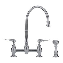 Franke - Satin Nickel Kitchen Faucet w/ Side spray - Franke FF6080 Faucet W/Side spray-Decorative Handles Satin Nickel