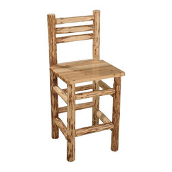 Rush Creek - Straight Back Pub Chair - Handcrafted from solid pine with a skip-peel finish. Scratch-resistant, rich polyurethane finish. 26.4 in. seat height. Assembly Required. Measures 19 in.L x 19 in.W x 42 in.HBelly up to any bar or pub table with this beautifully crafted Rush Creek Pub Chair. These rustic chairs are a great addition to any game room, home, or cabin. Handcrafted from skip-peeled (hand-stripped) solid pine, each chair is unique and features a scratch-resistant, rich polyurethane finish to bring out the natural beauty of the wood.
