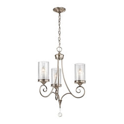 Joshua Marshal - Three Light Classic Pewter Up Chandelier - Three Light Classic Pewter Up Chandelier