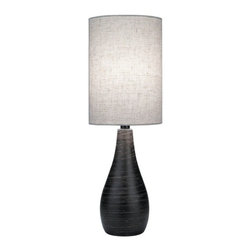 Lite Source Lighting - Retro Table Lamp - LS-2997 - Shag carpeting aside, the 1970's were a great era for interior design. This 70's inspired table lamp has a hand-brushed dark bronze body brimming with style. A cylindrical, linen shade adds a soft modern touch to the top. At 27-1/2 inches high, it makes the perfect bedside or living room table lamp. Takes (1) 13-watt compact fluorescent spiral bulb(s). Bulb(s) included. Dry location rated.
