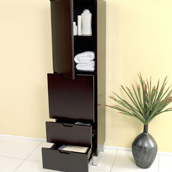 Fresca - Fresca Espresso Bathroom Linen Side Cabinet w/ 4 Storage Areas - This elegant side cabinet comes with an Espresso finish. It features 3 pull-out drawers and 1 storage area with soft closing door.