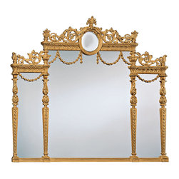 """Inviting Home - Adam Style Over-Mantel Mirror - Adam style over-mantel mirror in carved wood frame with antiqued gold metal leaf finish; 50-1/2""""W x 3""""D x 46""""H; mirror is hand-crafted in Italy; Magnificent hand crafted framed over-mantel mirror in Adam style. This over-mantel mirror has meticulously crafted carved wood frame in hand applied antiqued gold metal leaf finish. Elaborate mirror design features leaf scrolls and floral motif elegant swags rosettes and leaf drops. Convex mirror cartouche gracing the top of this overmantel mirror. This Adam style wall mirror creates a great look if placed over a fireplace mantel. This mirror is hand-crafted in Italy."""