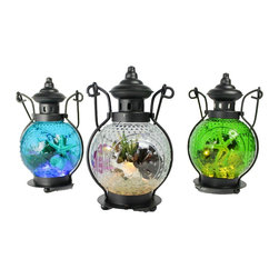 The Firefly Garden - Octopus's Garden, Small Set of Three - Bring the treasure of the sea into your home with Octopus's Garden. Starfish, seashells, and succulents fill a glass orb illuminated with tiny LED lights. The 3 Lantern Set comes in Green, Blue and Clear.