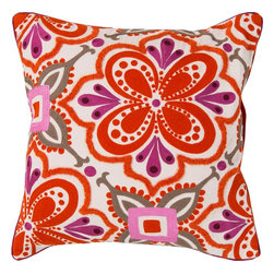 "Surya - Surya KS-011 Modern In Morocco Pillow, 20"" x 20"", Poly Fiber Filler - Build a bold, bright look, sure to be the crowning jewel of your space, with this pillow from the Kate Spain collection. Featuring a flower image outlined by diverse patterns in red and purple coloring, this piece will inject a shot of stylized color and design into any room. This pillow contains a zipper closure and provides a reliable and affordable solution to updating your home's decor. Genuinely faultless in aspects of construction and style, this piece embodies impeccable artistry while maintaining principles of affordability and durable design, making it the ideal accent for your decor."