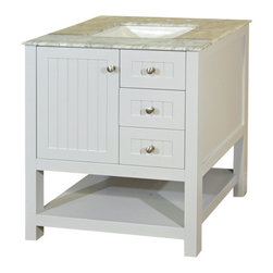 Bellaterra Home - 29 in Single sink vanity-wood-white cabinet only - The ultimate mix and match vanities.