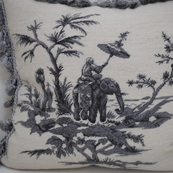 Home Needlepoint Pillow P37 - This wonderful limited-edition needlepoint pillow of a monkey riding an elephant is so darling!