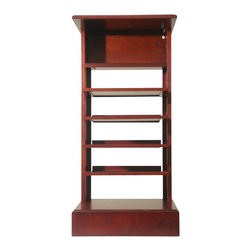 Proman Products - Proman Products Caesar Magazine Stand in Mahogany - Caesar magazine stand, mahogany finish with black velvet insert on layers. Ideal for magazines and phone book for easy reach. Can also be used as end table or night stand.