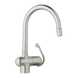 """Grohe - Grohe 32245SD0 Stainless Steel Ladylux Pro Ladylux Pro Pull-Down - Product Features:  All-brass faucet body construction ensures durability for a lifetime Covered under Grohe s limited lifetime warranty Grohe faucets are exclusively engineered in Germany Finishes will resist corrosion and tarnishing through everyday use - finish covered under lifetime warranty Grohe kitchen faucets will surprise and delight the user with every interaction The perfect synthesis of form and function Single handle operation Pullout spray faucet head enhances faucet s versatility Spout swivels 360-degrees providing greater access to more areas of the sink High-arch gooseneck spout design provides optimal room under the faucet for any size task ADA compliant Low lead compliant - meeting federal and state regulations for lead content  Product Specifications:  Overall Height: 15-1/4"""" (measured from counter top to highest point on faucet) Spout Height: 8-4/5"""" (measured from counter top to spout outlet) Spout Reach: 8-5/9"""" (measured from center of faucet base to center of spout outlet) Number of Holes Required For Installation: 1 Flow Rate: 2.2 GPM (gallons-per-minute) Maximum Deck Thickness: 2-5/8"""" 1 handle included with faucet Designed for use with standard U.S. plumbing connections All hardware needed for mounting is included with faucet  Product Technologies / Benefits:  SilkMove Cartridge: The rich and smooth handling of our single lever faucets conveys pure quality. As you change the temperature from hot to cold, one ceramic disc glides effortlessly across the other with absolute precision. These cartridges are manufactured in a high-tech process and feature discs made from a space-proven ceramic alloy. The SilkMove cartridg"""