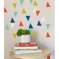 "the lovely wall co - Confetti Triangles - Wall Decal, Navy Lime Orange - 40qty - 2.5"" triangles in multiple colors"