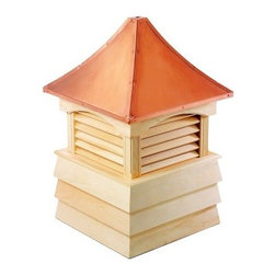 Good Directions Sherwood Wood Cupola - Break up that boring roofline with one or more of Good Directions Sherwood Wood Cupola. This handsome cupola brings classic Italian architectural designs to your domestic home. Its gently sloped roof and louvered vent design provides an elegant look, while the 24-gauge copper plating protects the piece from the weather. Solid wood planks and boards are used to construct the base, available in your choice of either primed or unprimed. The unit is designed to let you easily add a weathervane. 18, 22, 26, 30, 36, 42, 48, 54, 60, 72, and 84-inch square units are available to choose from. Instructions for mounting the unit are included. Mounting hardware for a weathervane attachment is also included.About Good DirectionsGood Directions got its start by creating weathervanes and cupolas, but it has expanded its line to include a wide range of decorative yet functional products for the home and garden, including popular Fire Domes, rain chains, and garden weathervanes. The company continues to attract innovative artists and designers eager to lend their vision to the creation of exceptional products to enhance the home, both indoors and out. No matter which way the wind blows, you can count on Good Directions to show you the way to a beautiful home.