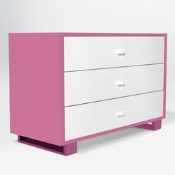 """ducduc - ducduc Austin 3 Drawer Dresser - Living up to the fun and sophistication of its company name, ducduc furniture delivers modern style to the today's family. A hint of retro inspiration lends a mid-century vibe to the Austin dresser while modern color combinations and box frame feet update the look. Find plenty of storage in its 3 roomy drawers, each finished with painted square pulls and ducduc's signature orange interior. Its sleek design can be repurposed for use as a changing table with an optional changing tray. Made in the USA using sustainably harvested hardwood and water-based, non-toxic finishes. 46""""W x 20""""D x 30""""H. Choose from several color and finish combinations for frame, box frame legs and drawer fronts. Optional white changing tray available. Safety features include a wall mount anti-tipping strap and rabbeted joints for strength. Under-mounted soft close glides allow drawers to move smoothly. Low carbon footprint production techniques. Formaldehyde and lead-free. ducduc gives back to the community through several charities."""