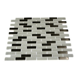 "Loft Ice Cave Brick Pattern Marble & Glass Tile - LOFT ICE CAVE 1/2X2 BRICK PATTERN GLASS TILE This striking blend of glass and stainless steel creates a sleek and attractive design for any room. Add a pop to any room with these beautiful tiles that are versatile; great to use for a backsplash for a kitchen, bathroom or any decorated room. The mesh backing not only simplifies installation, it also allows the tiles to be separated which adds to their design flexibility. Chip Size: 1/2"" x 2"" Color: Super White and Stainless Material: Glass and Stainless Steel Finish: Polished, Frosted, and Matte Sold by the Sheet - each sheet measures 12"" x 12"" (1 sq. ft.) Thickness: 8mm"