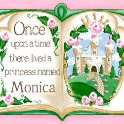 Once Upon a Time Princess Storybook Nursery Wall Art by Sherri Blum - Once Upon a Time Storybook Princess in Pink nursery wall art for baby or canvas wall art for kids by Sherri Blum for Oopsy Daisy Art. Beautiful sentiment on kids canvas art that makes a perfect nursery wall art for your baby's nursery.  Available in blue, pink, lavender.  Any fairytale theme nursery for a royal baby's nursery room would be complete with our princess nursery art. By Sherri Blum, celebrity nursery designer and owner of Jack and Jill Boutique. Variety of sizes.