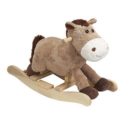 "Charm Company - Harry Horse Rocker - The Harry Horse Plush Rocker by the Charm Co. features a super soft light brown colored body with cute button eye. His body is made of a super soft plush that has the feel of a baby blanket. Squeeze his ear to hear him WHINNEY this feature requires 2AA batteries not included. Holds up to 100 lbs. Recommended for children ages 3 and up. Strong hardwood rocker base. Natural non-toxic finish. Natural stain wooden handles. Extra soft plush body Fun sounds. Easy clean up with mild soap and water. Dimensions: Overall Height: 16"" Seat Height to Floor: 11"" Rocker Length: 25.5"" Rocker Width: 10.5""."