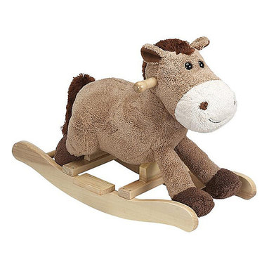 """Charm Company - Harry Horse Rocker - The Harry Horse Plush Rocker by the Charm Co. features a super soft light brown colored body with cute button eye. His body is made of a super soft plush that has the feel of a baby blanket. Squeeze his ear to hear him WHINNEY this feature requires 2AA batteries not included. Holds up to 100 lbs. Recommended for children ages 3 and up. Strong hardwood rocker base. Natural non-toxic finish. Natural stain wooden handles. Extra soft plush body Fun sounds. Easy clean up with mild soap and water. Dimensions: Overall Height: 16"""" Seat Height to Floor: 11"""" Rocker Length: 25.5"""" Rocker Width: 10.5""""."""