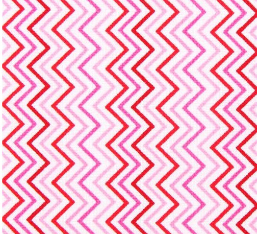 mini zig zag stripes fabric pink by Timeless Treasures USA - white stripe fabric from the USA with pink Chevron pattern
