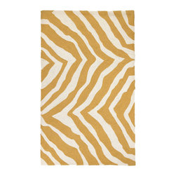 Trina Turk - Trina Turk Brawley Yellow Hook Rug - The Trina Turk Brawley hook rug exudes an animal-inspired vibe. Showcasing yellow and white hues, this rectangular floor covering dazzles with a bold zebra print.  3'W x 5'H; 100% cotton and wool; Dry clean only; Rug pad recommended