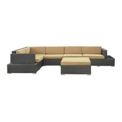 Secret Harbour Outdoor Wicker Patio 6 Piece Sectional Sofa Set in Espresso with