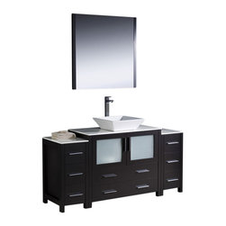 """Fresca - 60"""" Espresso Vanity w/ 2 Side Cabinets & Vessel Si Soana Brushed Nickel Faucet - Fresca is pleased to usher in a new age of customization with the introduction of its Torino line.  The frosted glass panels of the doors balance out the sleek and modern lines of Torino, making it fit perfectly in eithertown or country decor."""