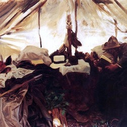 "John Singer Sargent Inside a Tent in the Canadian Rockies   Print - 16"" x 20"" John Singer Sargent Inside a Tent in the Canadian Rockies premium archival print reproduced to meet museum quality standards. Our museum quality archival prints are produced using high-precision print technology for a more accurate reproduction printed on high quality, heavyweight matte presentation paper with fade-resistant, archival inks. Our progressive business model allows us to offer works of art to you at the best wholesale pricing, significantly less than art gallery prices, affordable to all. This line of artwork is produced with extra white border space (if you choose to have it framed, for your framer to work with to frame properly or utilize a larger mat and/or frame).  We present a comprehensive collection of exceptional art reproductions byJohn Singer Sargent."
