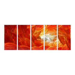 Pure Art - Beyond Imagination Metal Wall Hanging Set of 5 - Bands of vibrant orange and red form discs that cascade one over the other to form an abstract scene. This five panel metal wall hanging group is the ideal way to add abstract art to your modern and contemporary decor in the home or office. Beautiful panels have been crafted and painted by hand using only the best of materials. Easy to mount using welded brackets on back of each panelMade with top grade aluminum material and handcrafted with the use of special colors, it is a very appealing piece that sticks out with its genuine glow. Easy to hang and clean.